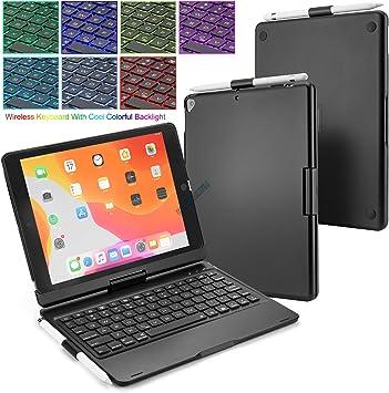 BECEMURU Funda para Teclado iPad Air 4 10.9 7 Colores Teclado Bluetooth Soporte Giratorio de 360 ° Funda de aleación de Aluminio y ABS Funda con ...