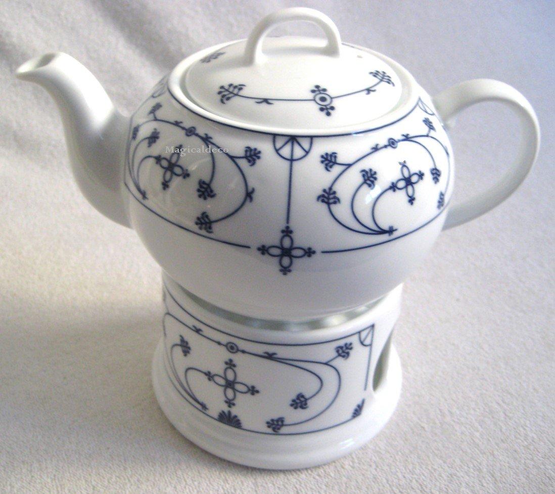 Teekanne Porzellan Mit Stövchen 3 teilig teekanne stövchen porzellan indisch blau 0 4 l