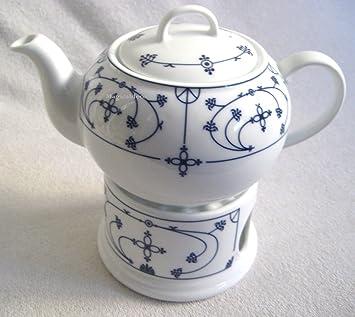 3 teilig- Teekanne- Stövchen -Porzellan- Indisch blau - 0,4 L ...