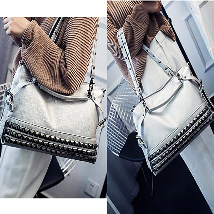 FiveloveTwo donna moderno punk ribattino borsa a mano spalla tracolla multifunzione sacchetto hobo borsetta tote messaggero shoulder bag handbags nero