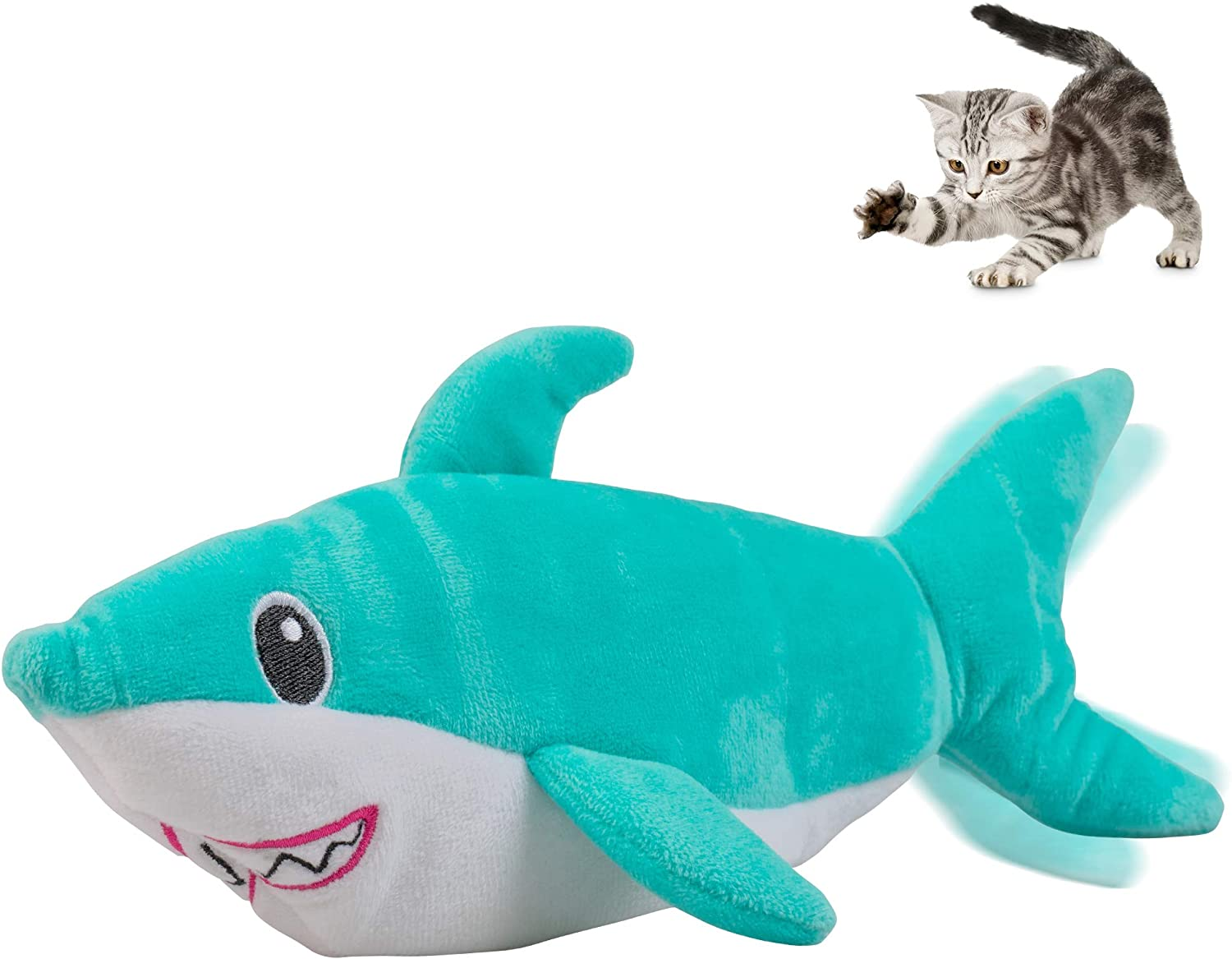 Pet Craft Supply Wiggle Pickle and Shimmy Shark Flipper Flopper Interactive Electric Realistic Flopping Wiggling Moving Fish Potent Catnip and Silvervine Cat Toy