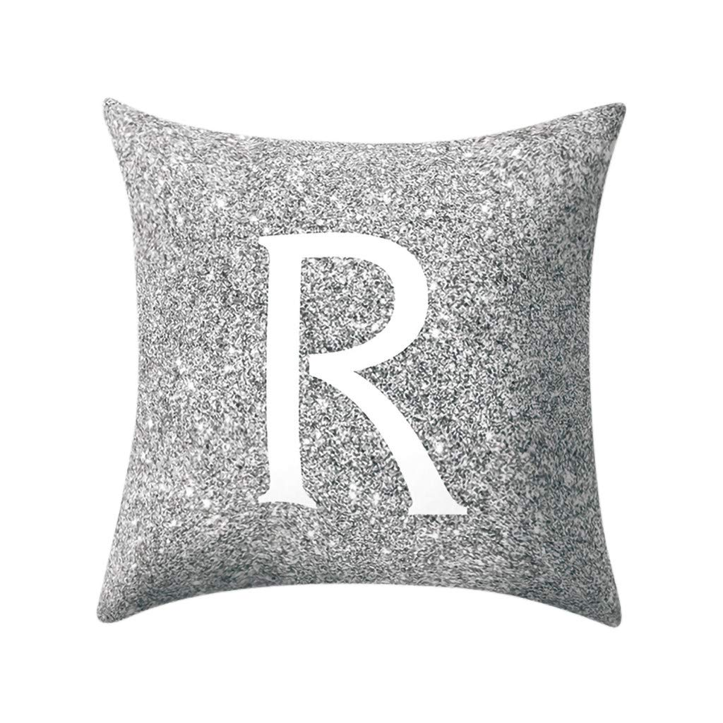 Letter Pillow Case Covers Metallic Throw Pillow Case 18x18'' A-Z Letter Alphabets Cushion Cover Polyester Pillowcase for Home Sofa Couch Decor (R)