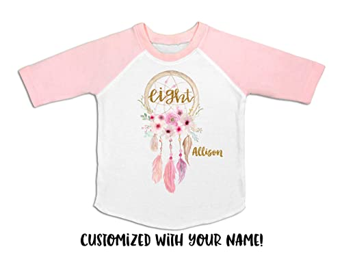 Girls Eighth Birthday Raglan Girls 8th Birthday Outfit Eight Shirt 8th Birthday Shirt Gold Heart 8th Birthday Shirt Birthday Tee