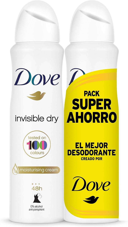 Dove Invisible Dry Desodorante Antitranspirante en Aerosol Antimanchas en 100 Colores sin Alcohol, 2x200 ml