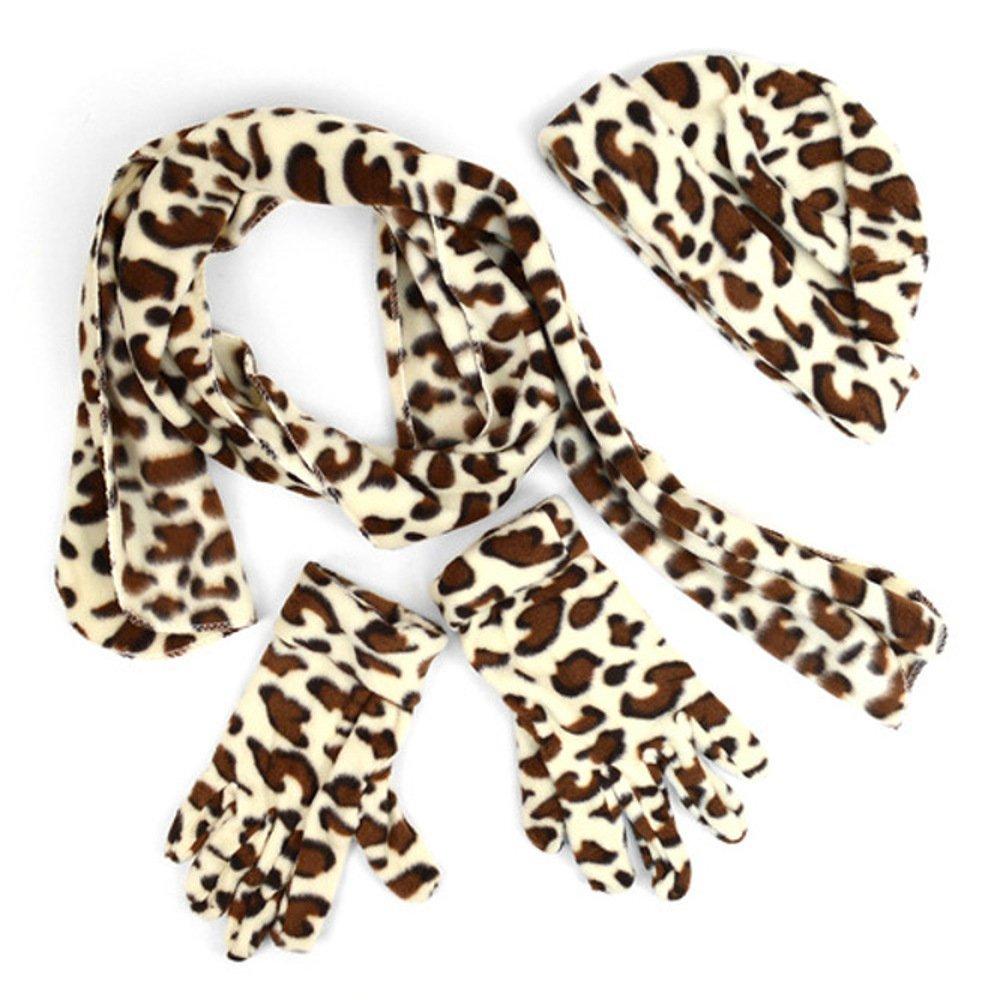 Women's 3 PC Big Cat Print Design Fleece Hat Scarf & Gloves Winter Set (Jaguar)