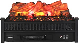 """TURBRO Eternal Flame EF23-LG Electric Fireplace Logs Heater with Remote, Realistic Lemonwood Ember Bed Insert - Adjustable Flame Effect - Thermostat - CSA Certified - 23"""" 1400W Black"""