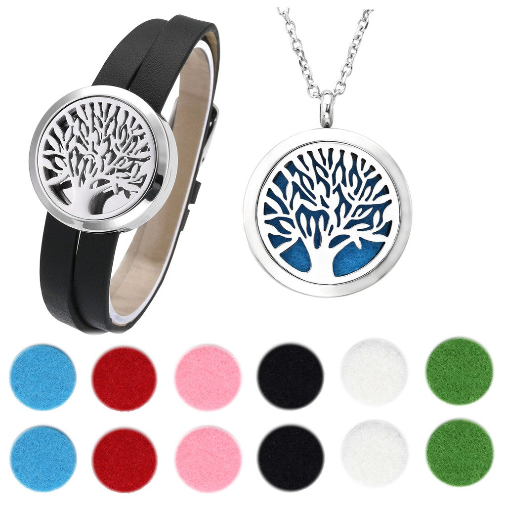 Jovivi 30mm Tree Of Life Essential Oil Diffuser Locket Detachable Genuine Leather Bracelet and Aromatherapy Pendant Necklace Set w/12 Felt Pads and Box by Jovivi (Image #1)