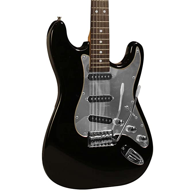 Amazon.com: Sawtooth Black Electric Guitar w/ Chrome Pickguard - Includes Accessories, Sawtooth 25W Amp , Hard Case and Online Lesson: Musical Instruments