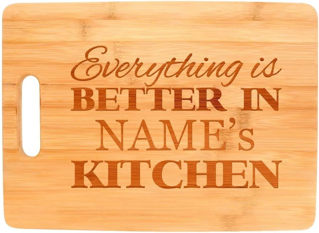 A picture of a bamboo chopping board with inspirational message in it