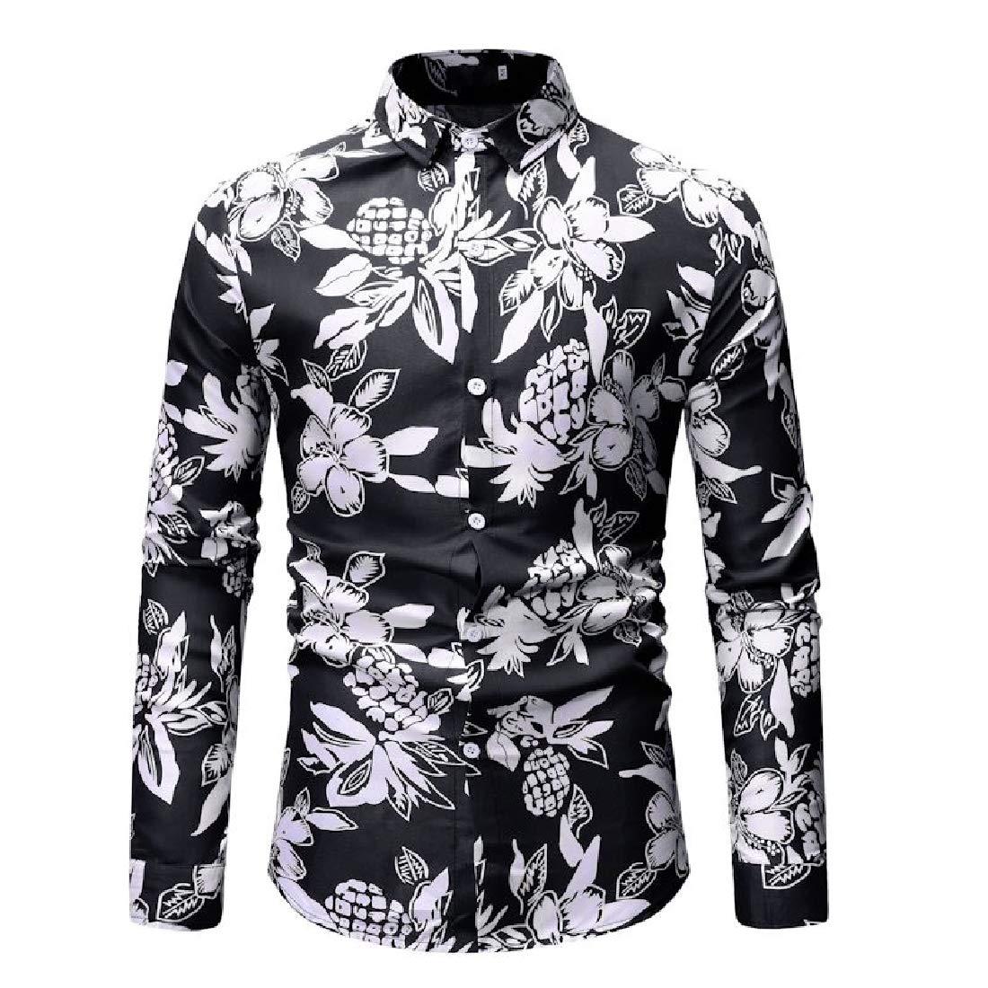 Kankanluck Men Regular Fit Button Up Long-Sleeve Hawaiian Beach Shirt