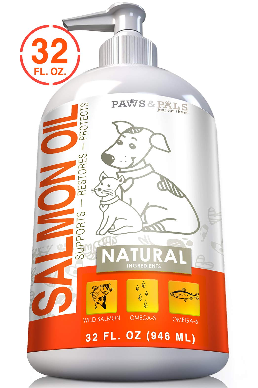 32oz Pure Wild-Alaskan Salmon Oil for Pets Omega 3 All Natural Fish Oil Liquid Food Supplement for Dogs & Cats -EPA & DHA Fatty Acids Supports Healthy Heart Restores Skin Protects Coat by Paws & Pals