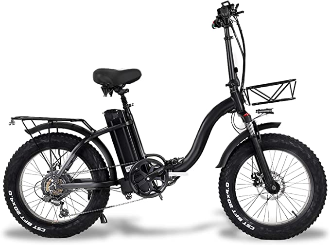 """MARTES Electric Folding Bike Fat Tire 20 * 4"""" with 48V 15Ah Lithium-ion Battery 500W Motor, City Mountain Bicycle Booster 100-120KM"""