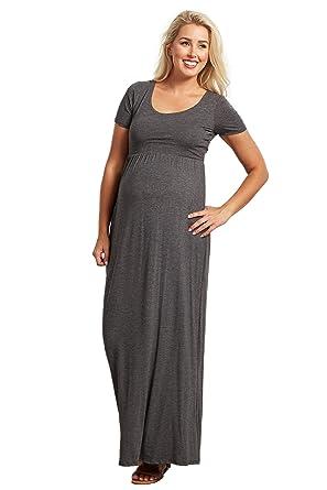 034e274cda PinkBlush Maternity Solid Short Sleeve Maxi Dress at Amazon Women s ...