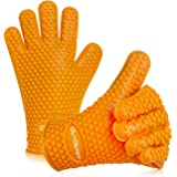 Outdepot Silicone Cooking Gloves Silicone Oven Mitt and Double-layer Kitchen Potholder Gloves Heat Resistant Oven Mitt - Perfect for Cooking, Grilling, Baking, BBQ, Barbecue, Orange