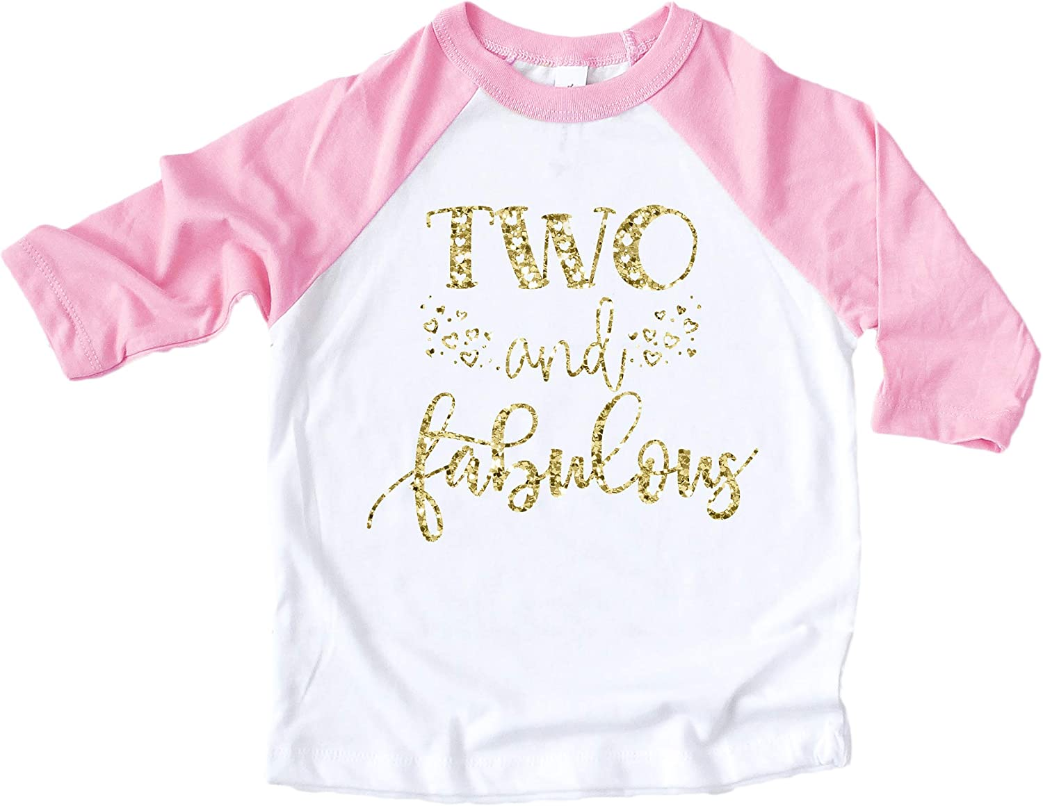 Olive Loves Apple Two and Fabulous Shirt Glitter Gold Two and Fabulous Hearts Pink Raglan Girls 2nd Birthday Shirt