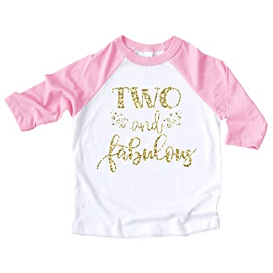 6840f2e7 Amazon.com: Olive Loves Apple Two and Fabulous Shirt Glitter Gold Two and  Fabulous Hearts Pink Raglan Girls 2nd Birthday Shirt: Clothing