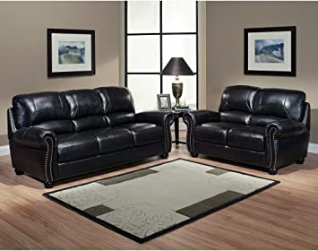 Italian Leather Sofa And Loveseat 2 Piece Living Room Set Chair Office  Furniture Or Patio Bed