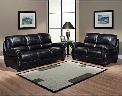 Amazon.com: Italian Leather Sofa and Loveseat 2 Piece Living Room ...