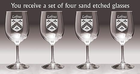Set of 4 Loftus Irish Coat of Arms Wine Glasses Sand Etched