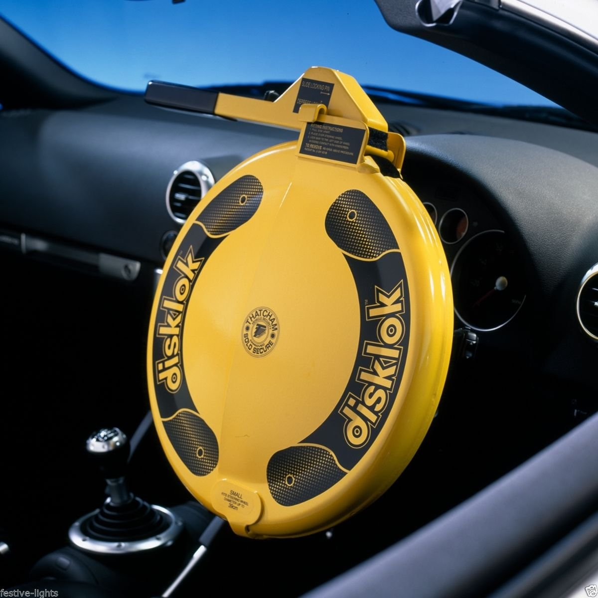 Disklok Yellow Steering Wheel Full Cover Security Lock Thatcham Approved (Small, 35cm - 39cm)