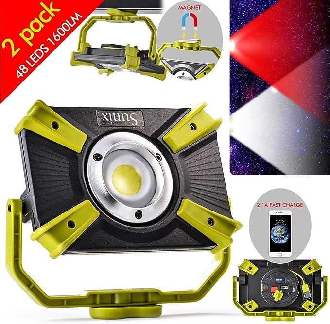 19 opinioni per Faro Luce LED Portatile Ricaricabile 4400mAh 20W Luce Esterni 2.1A USB Ricarica