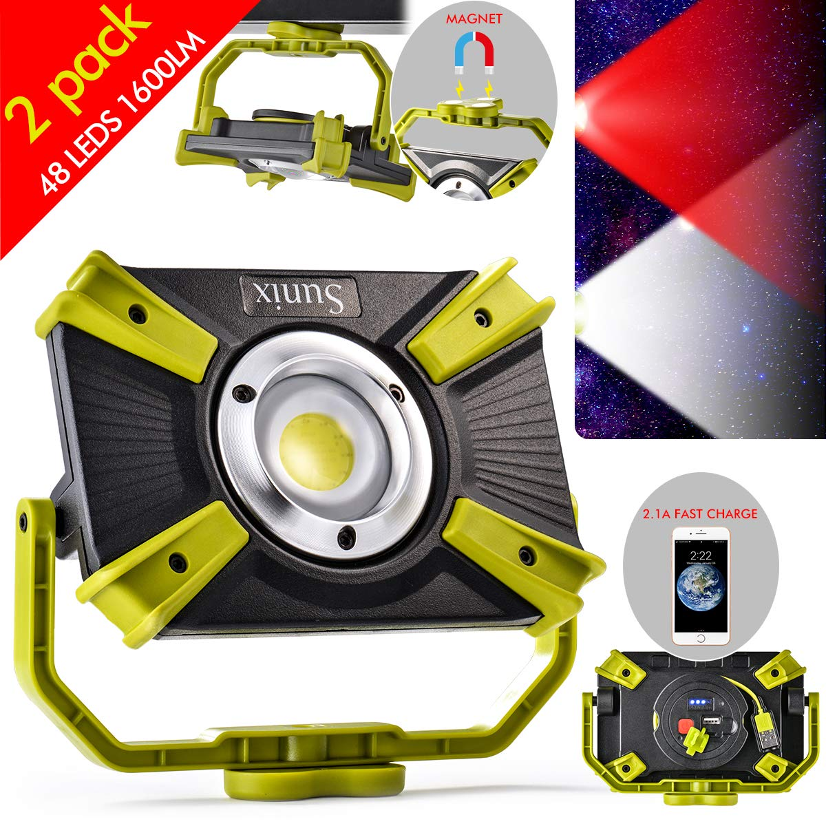 LED Work Light Magnetic Base Rechargeable 20W 1600LM SOS Mode 2.1A Fast Charging Waterproof Spotlights Outdoor Camping Emergency Floodlights For Truck Workshop Construction Site 2 Packs