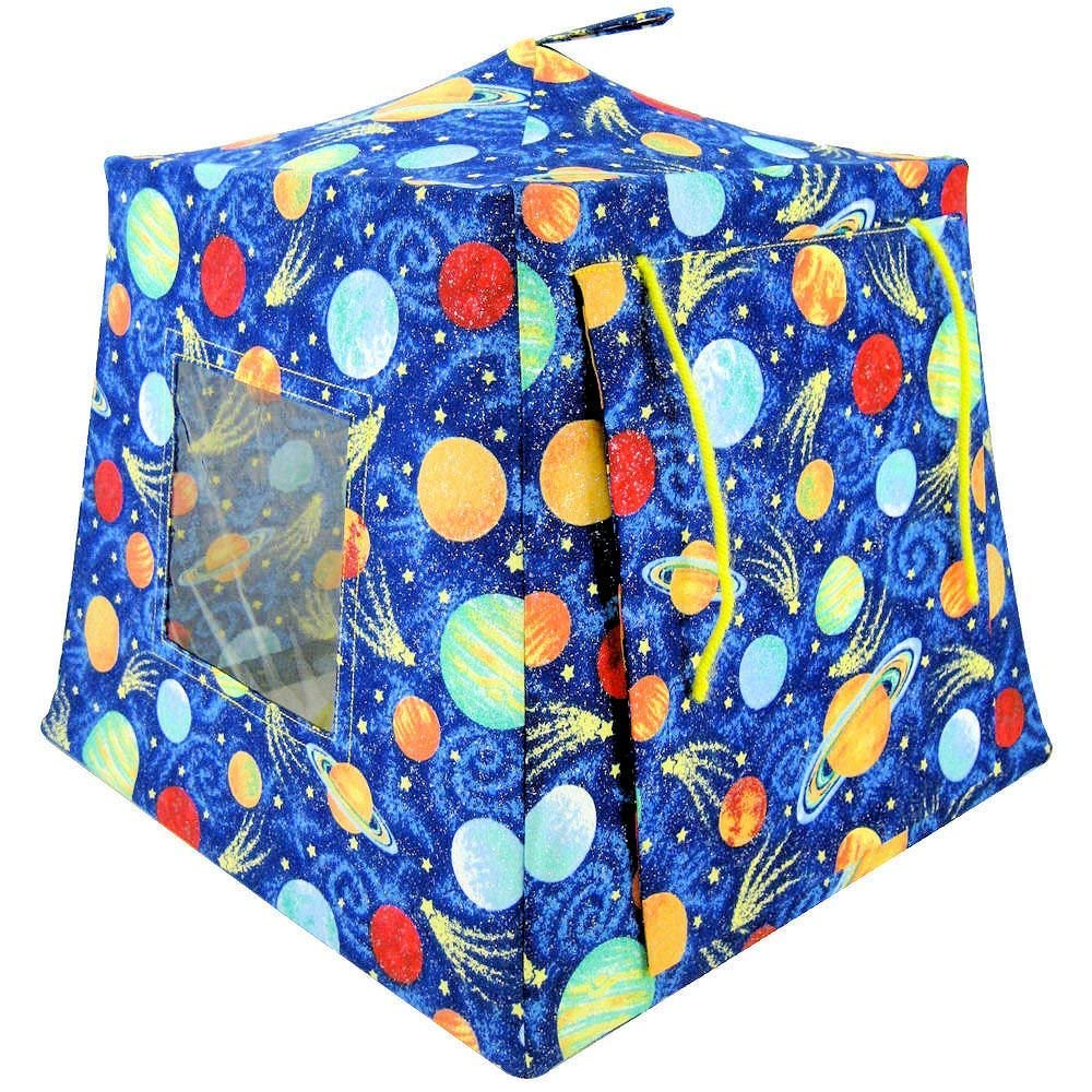 Toy Play Camping Tent, 2 Sleeping Bags, Royal Blue, Solar System Print for Dolls, Stuffed Animals, Action Figures