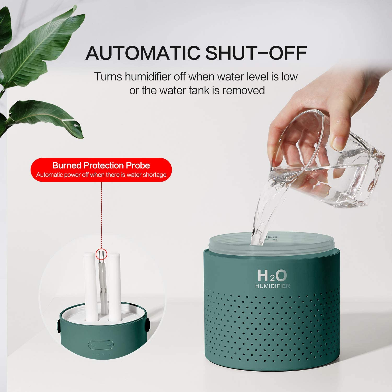 SmartDevil Humidifier,1.1L Cool Mist Humidifier with 4000mAh Battery Operated umidifiers for Home Bedroom Office Travel Double-Head Spray,Colorful Night Light Function,essential oil forbidden-White