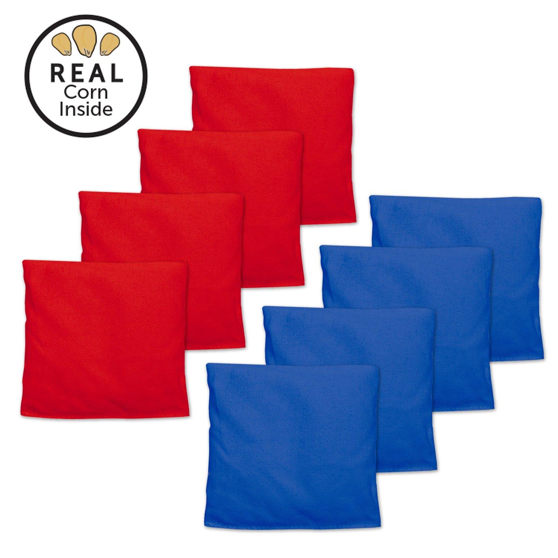 Corn Filled Cornhole Bags – Set of 8 Bean Bags for corn穴ゲーム B074SMKS5M レッド & ブルー レッド & ブルー