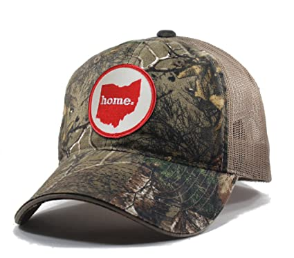 794697f484ad7 Amazon.com  Homeland Tees Men s Ohio Home State Realtree Camo Trucker Hat -  Red  Clothing