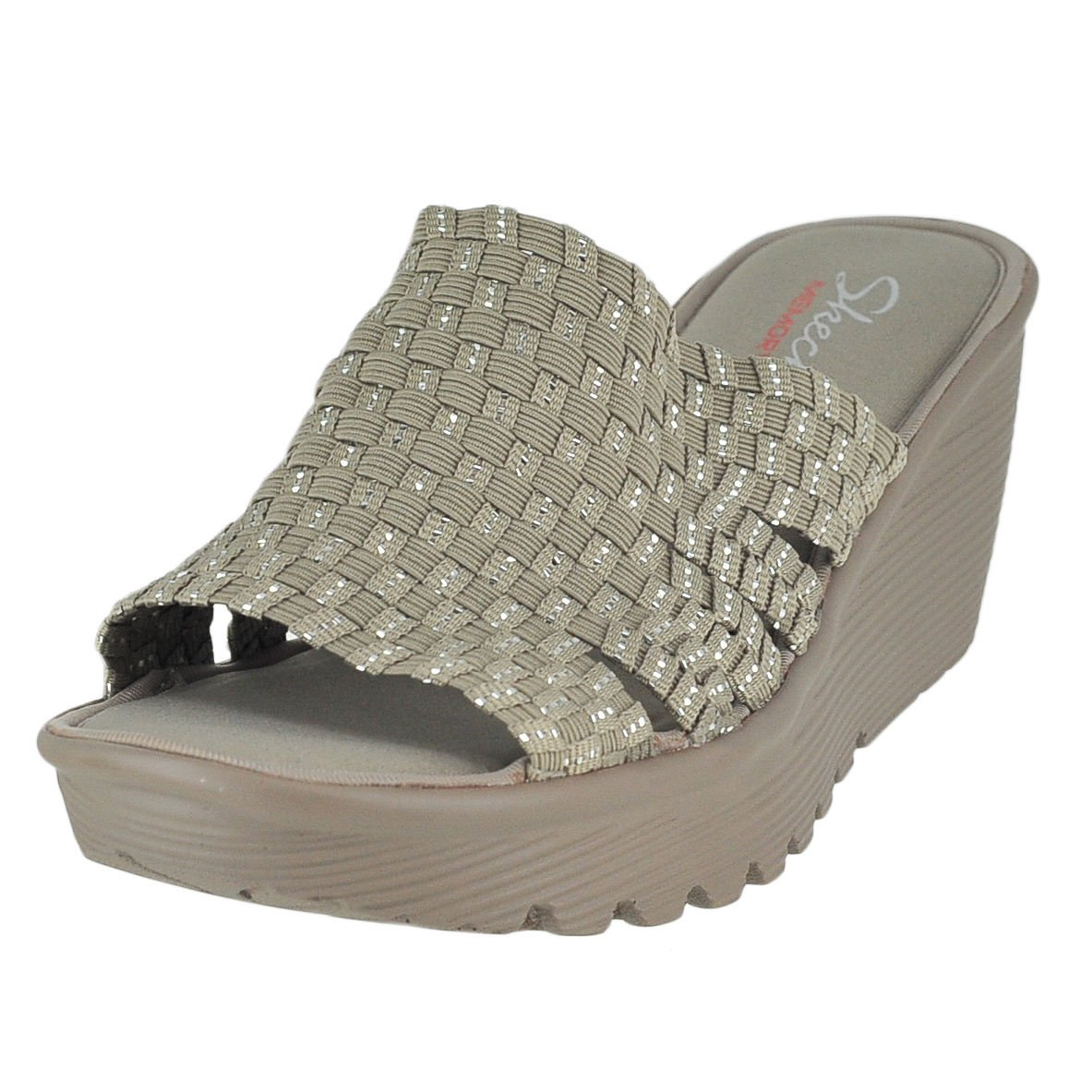 Skechers Cali Women's Parallel Wedge Sandal B0131IQOJI 10 B(M) US|Taupe Silver