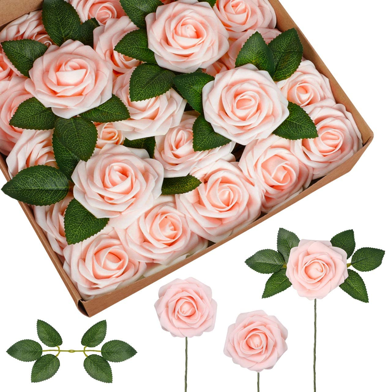 InnoGear Artificial Flowers, 50 Pcs Faux Flowers Fake Flowers Blush Roses Perfect for DIY Wedding Bouquets Centerpieces Bridal Shower Party Home Flower Arrangement Decorations