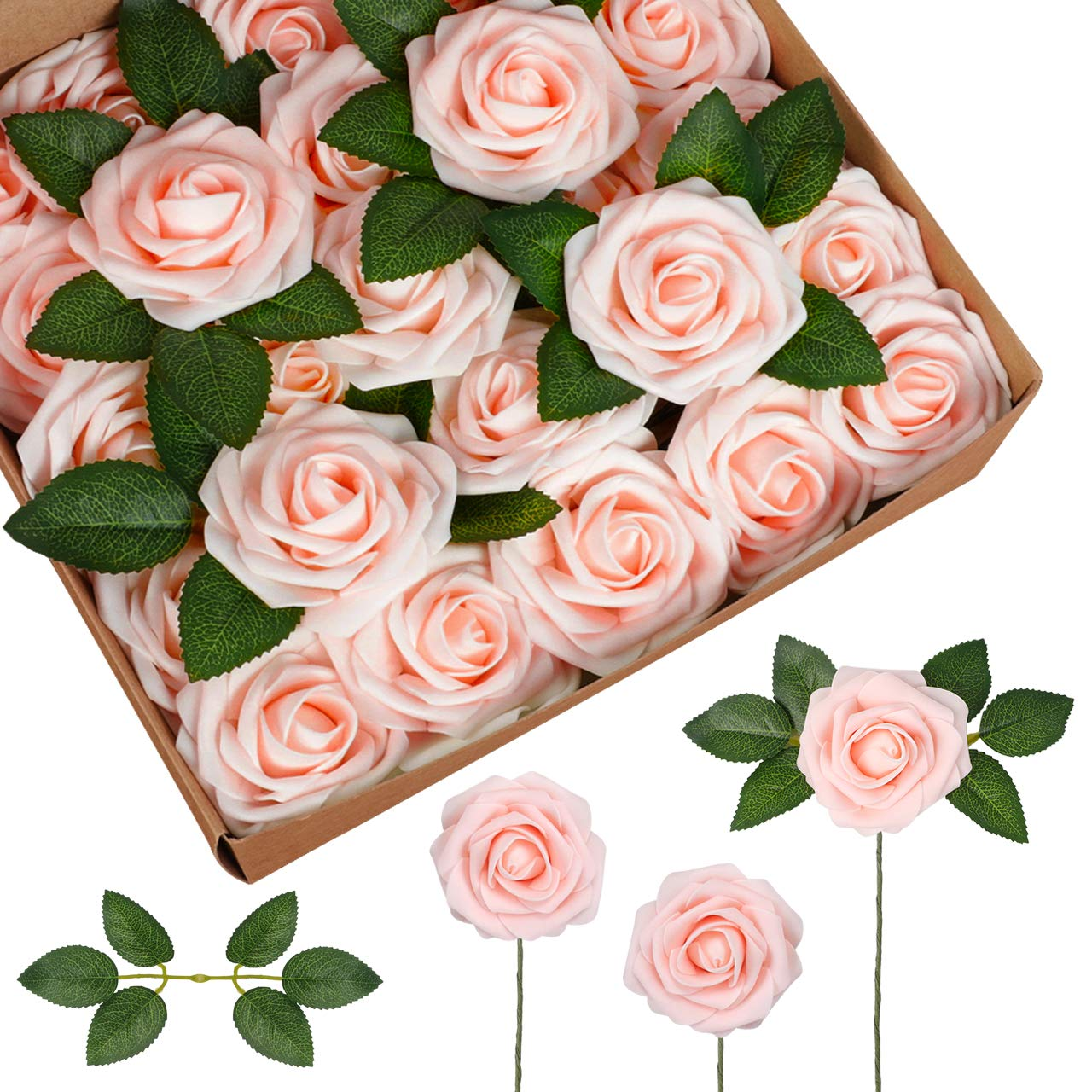 InnoGear Artificial Flowers, 50 Pcs Faux Flowers Fake Flowers Blush Roses Perfect for DIY Wedding Bouquets Centerpieces Bridal Shower Party Home Flower Arrangement Decorations