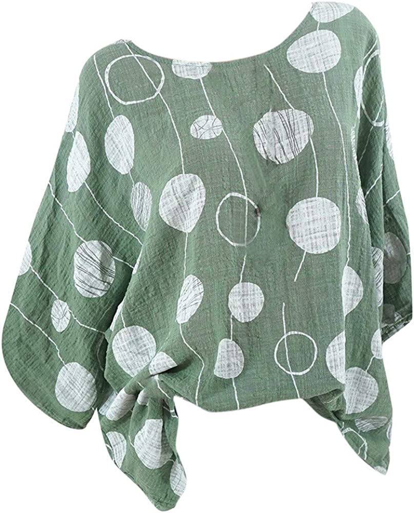 Women Shirt Plus Size 3/4 Sleeve Round Neck Sexy Polka Dot Print Blouse Pullover Tunic Top