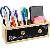 STAPENS Pen Holder for Desk, Wooden Pencil Holder Desk Organizer with Blackboard and Whiteboard