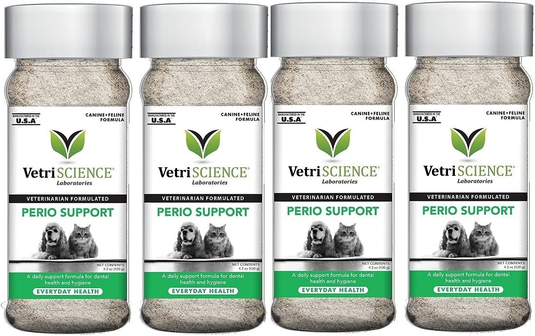 VetriScience Laboratories Perio Support, Dental Health Powder for Cats and Dogs Bundled with Health Tracker