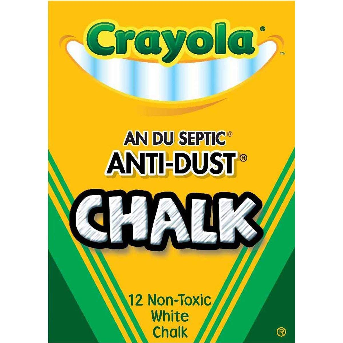 Nontoxic Anti-Dust Chalk, White, 12 Sticks/Box (50-1402), Pack of 100