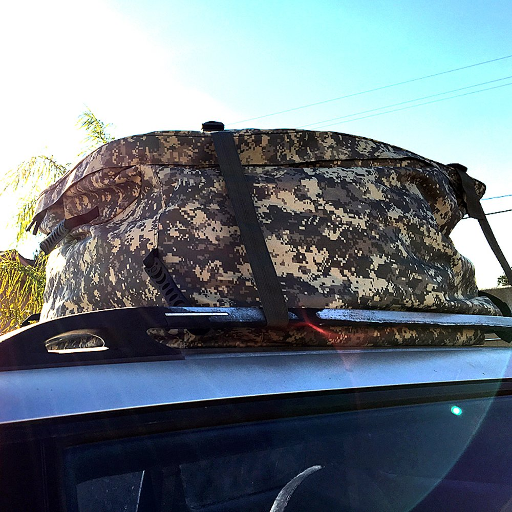 Native Gear Waterproof Roof Top Cargo Carrier Bag for Car SUV UTV Truck Van Travel Luggage Storage Camouflage Camo Large Sport Gear Equipment Road Trips Straps Handy Storage