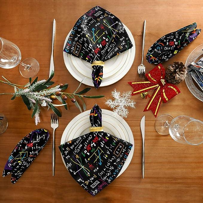 cena familiar 20 x 20 pulgadas lavables y reutilizables AUUXVA BIGJOKE Servilletas de tela para educaci/ón matem/ática servilletas de mesa suaves para restaurante cocina fiesta juego de 1