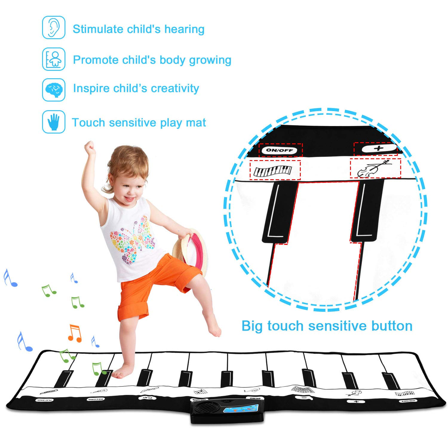 Kids Piano Mat, Keyboard Play Mat, Floor Piano Mat for Kids, Musical Piano Mat has 8 Musical Instruments, Record, Playback, Demo, Play, Best Birthday Christmas Day Gifts for Girls, Boys,Children by M SANMERSEN (Image #3)