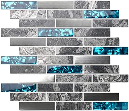 11 Square Feet TST Stone Glass Tile Gray Smooth Polished Marble Teal Blue Crystal Glass Brushed Steel Accent Wall Backsplash Border Art Mosaic Tile TSTMGT001
