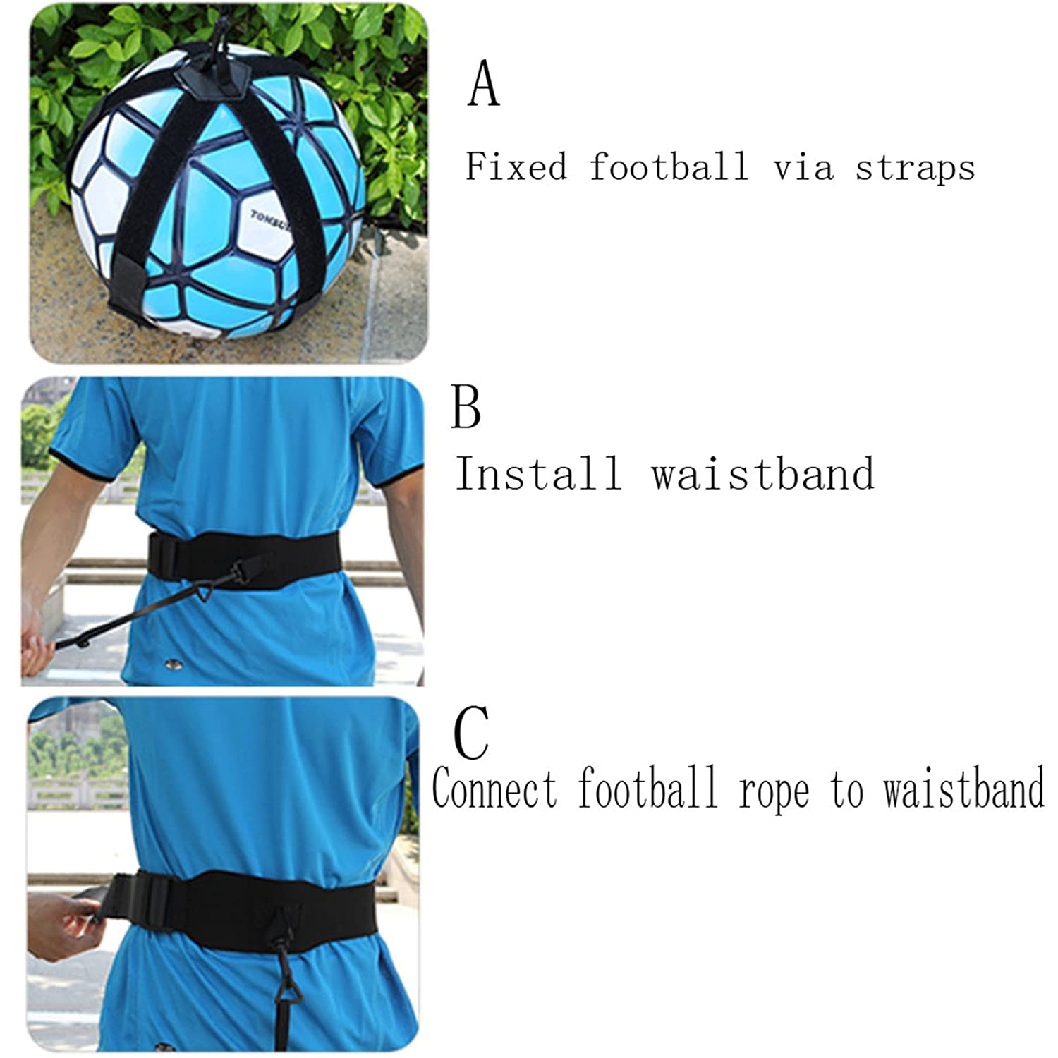 QPKUNG Soccer Trainers Soccer Football Practice Equipment Solo Practice Traning Aid for Passing the Ball Catching the Ball and Ball Control Practicing.