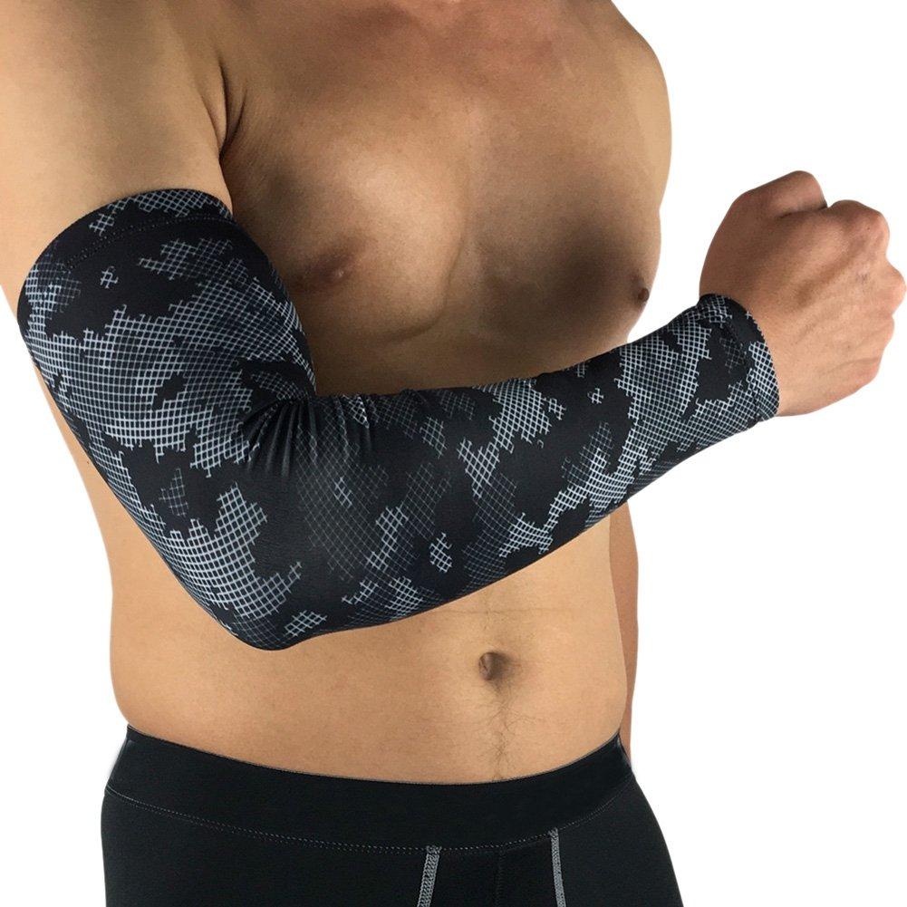 bornbayb 1 Piece迷彩ユニセックス通気性UV保護アームスリーブ冷却アームカバースポーツに Medium カモフラージュブラック B07FNTRDBX