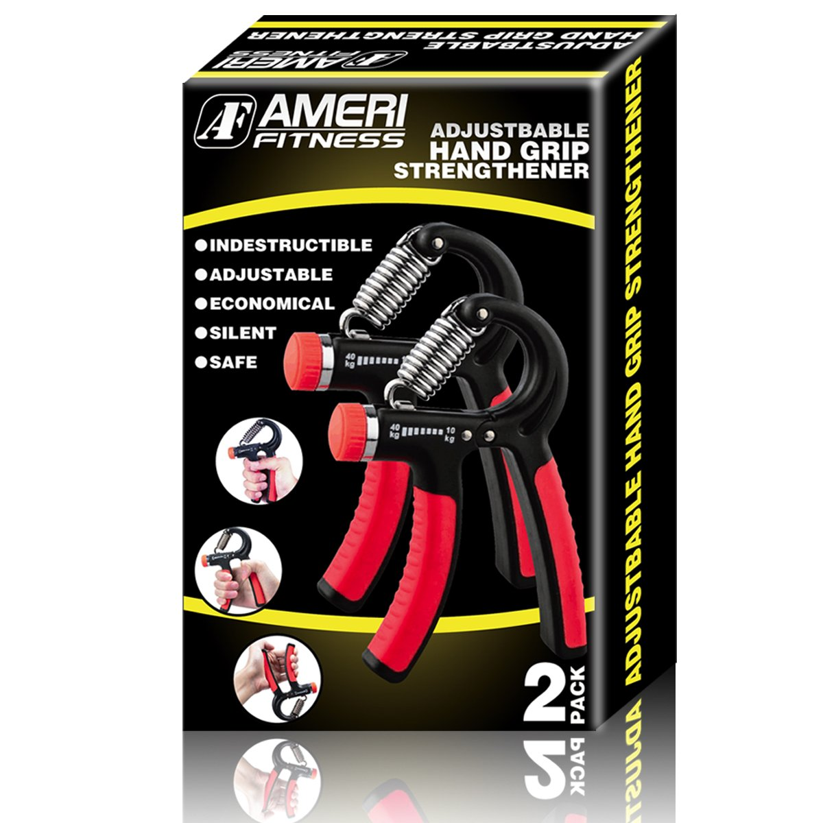 Ameri Fitness Hand Grip Strengthener Strength, [Set of 2] Increasing Hand Wrist Forearm Trainer Exerciser; Adjustable Resistance (22~88 Lbs); Non-Slip Gripper by Ameri Fitness (Image #8)