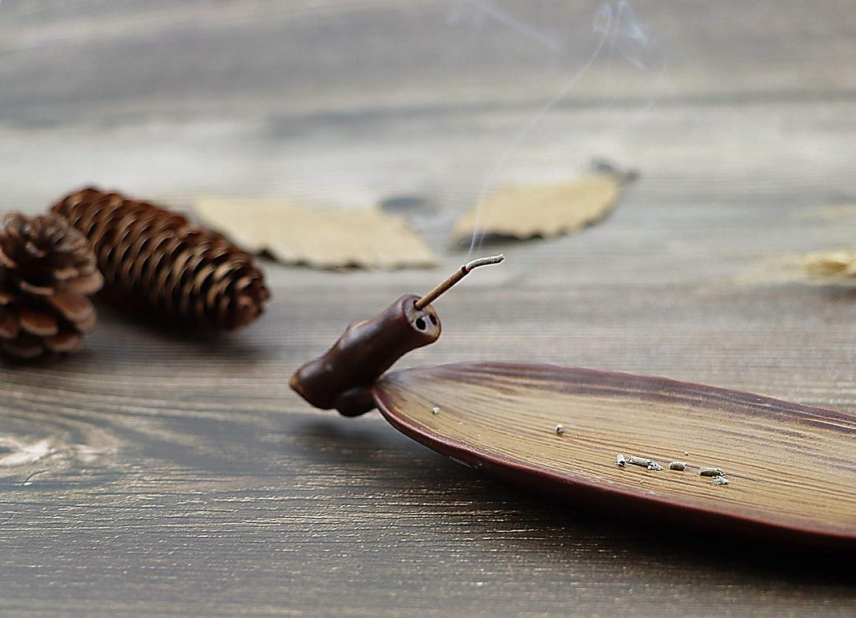 OESDLTD Incense Stick Holder Burner Cone Ash Catcher Tray Censer Ceramic for Yoga Home Office White Leaf