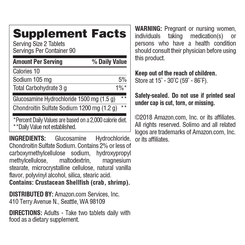 Amazon Brand - Solimo Glucosamine 1500mg with Chondroitin 1200mg, 180 Tablets, Three Month Supply by Solimo (Image #2)