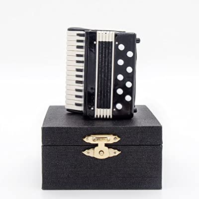 Odoria 1:12 Accordion Wooden Musical Instrument Miniaure Dollhouse Accessories: Toys & Games