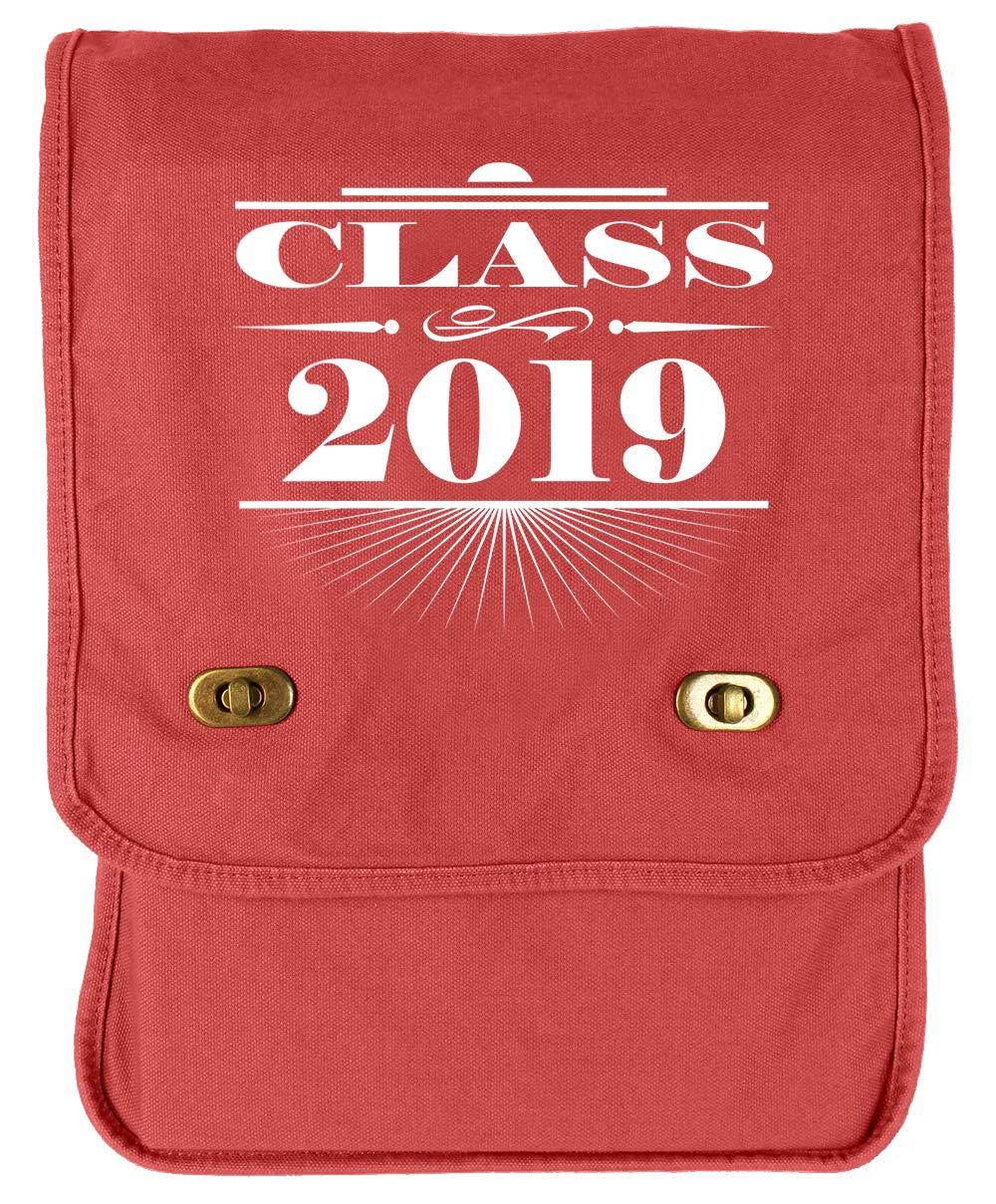 Tenacitee Art Deco Class of 2019 Khaki Green Raw Edge Canvas Messenger Bag