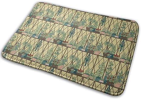 """Imagen deBLSYP Felpudo Window Courtyard Silhouette Doormat Anti-Slip House Garden Gate Carpet Door Mat Floor Pads 15.8"""" X 23.6"""""""