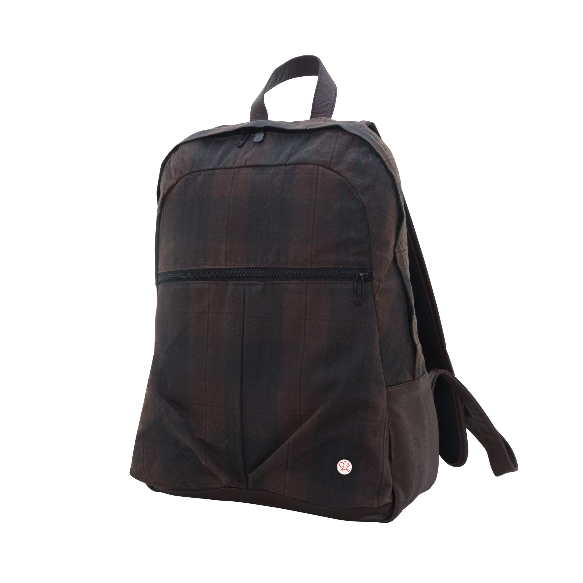 Token Bags Waxed Woodhaven Backpack, Dark Brown Plaid, One Size
